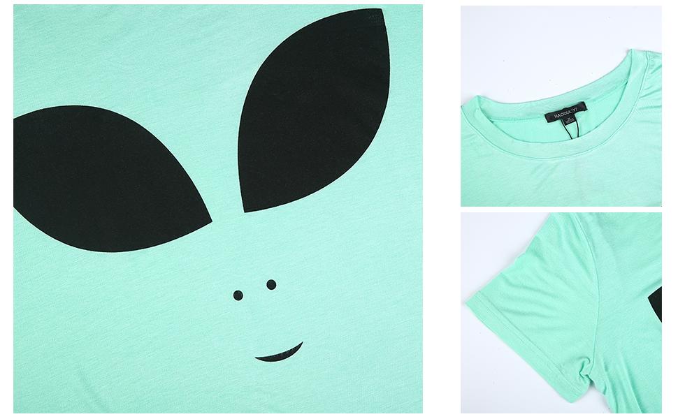 Green Alien Head All Over Boxy Crop Top Hipster Cute Fashion Girl Women Summer