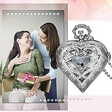 JewelryWe Vintage Silver Tone Heart Locket Style Pendant