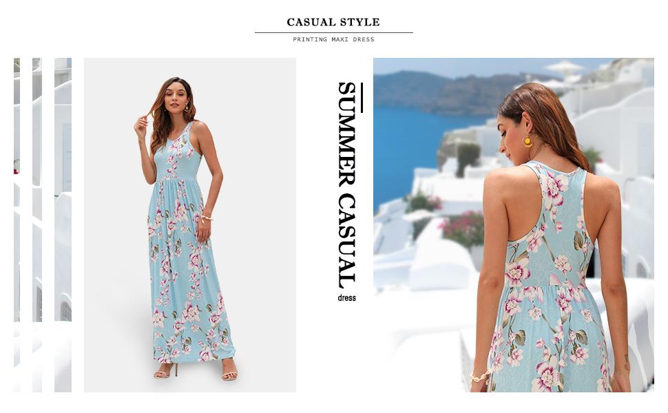 GRECERELLE Women's Sleeveless Racerback and Long Sleeve Loose Plain Maxi Dresses Casual Long Dress