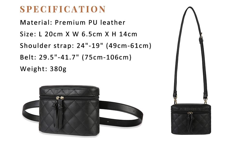 ECOSUSI Women Bum Bag Belt Bag Fanny Pack for Women Fashion Waist Pack Quilted Bag Vegan Leather Small Crossbody Bag Two-Way Waist Bag
