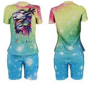 Women Plus Size Casual 2 Piece Outfit Tie Dye Short Sleeve T-Shirts Bodycon Shorts Set