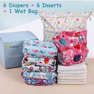 Exqline Baby Cloth Diapers Washable Reusable Pocket Nappy for Baby