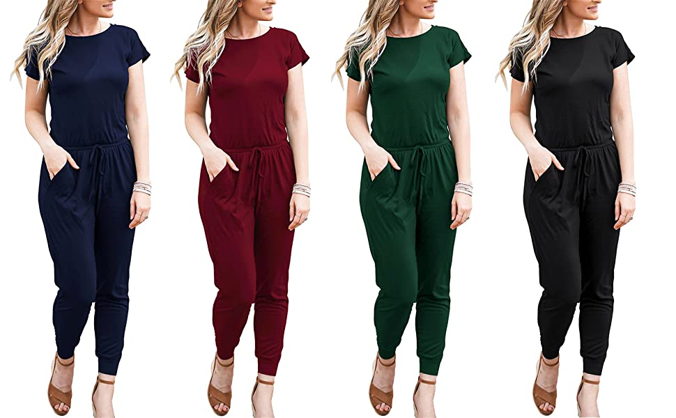 DOUBCQ Womens Summer Casual Short Sleeve Elastic Waist Rompers Jumpsuits with Pockets