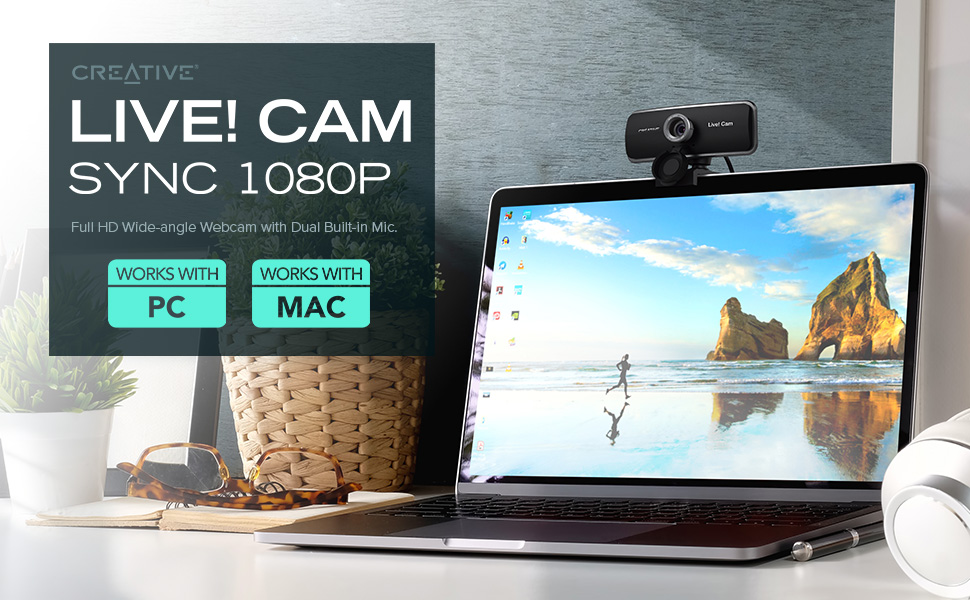 Creative Live! Cam Sync 1080p – Full HD Wide-angle Webcam with Dual Built-in Mic