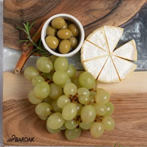 BARDAK Serving Board Cheese Board Charcuterie Board gold and white color and  Walnut Wood