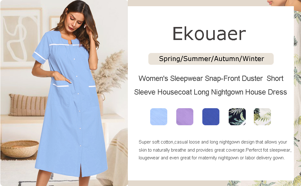 Ekouaer Sleepwear Women's Snap Front Duster Short Sleeve House Dress Long Nightgown
