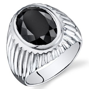 Peora Black Onyx Men's Signet Ring in Sterling Silver, 7 Carats, Sizes 8 to 13
