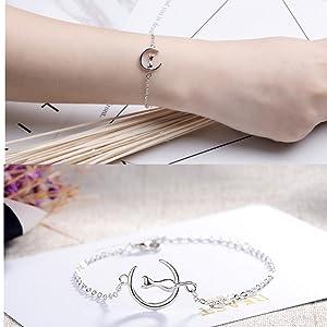 cat moon charm pendant necklace bracelets earrings rings adjustable jewelry set crescent love cute