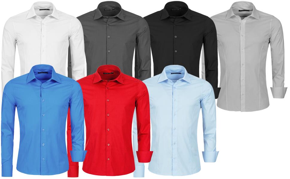 Redbridge Herren Hemd Hemden Freizeithemd Slim-Fit Langarm Tailliert R-2111 Blau
