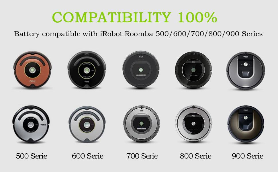 775 651 775 Pet Batteria 3000mAh 14.4V Ni-Mh per iRobot Roomba 621 774