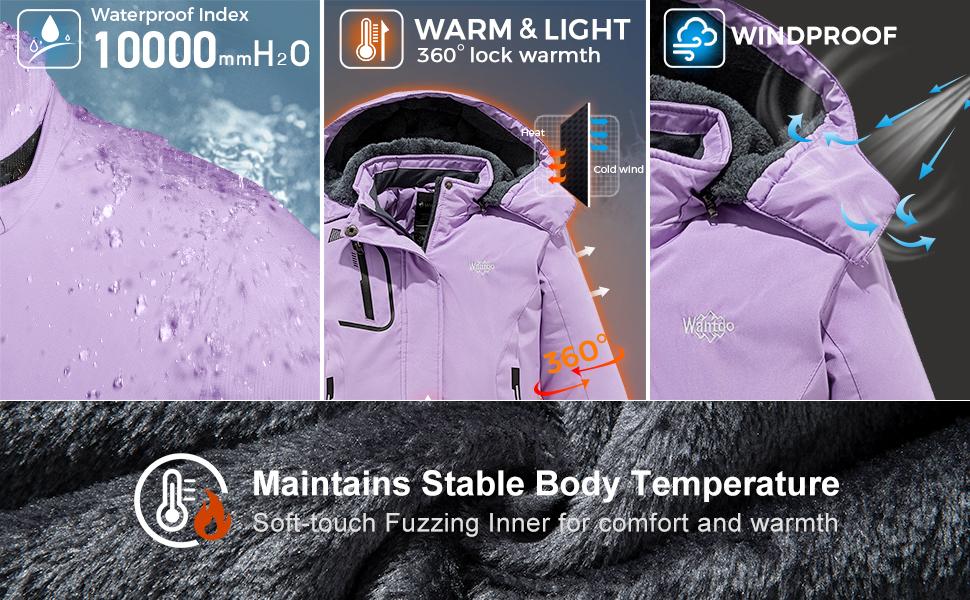Wantdo Girls Warm Ski Jacket Waterproof Snowboarding Coat