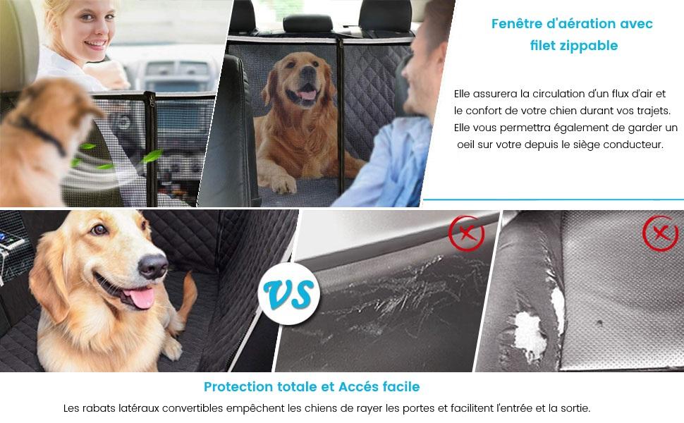 protection des portes et sièges voiture et fenêtre d'aération pour votre chien