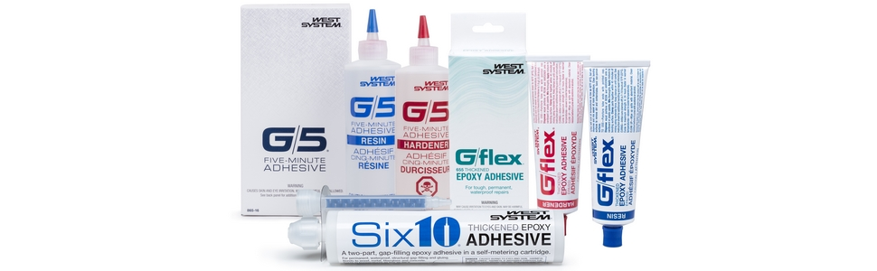 WEST SYSTEM Specialty Epoxies: G/5 Five-Minute Adhesive, G/flex Toughened Epoxies, and Six10 Epoxy