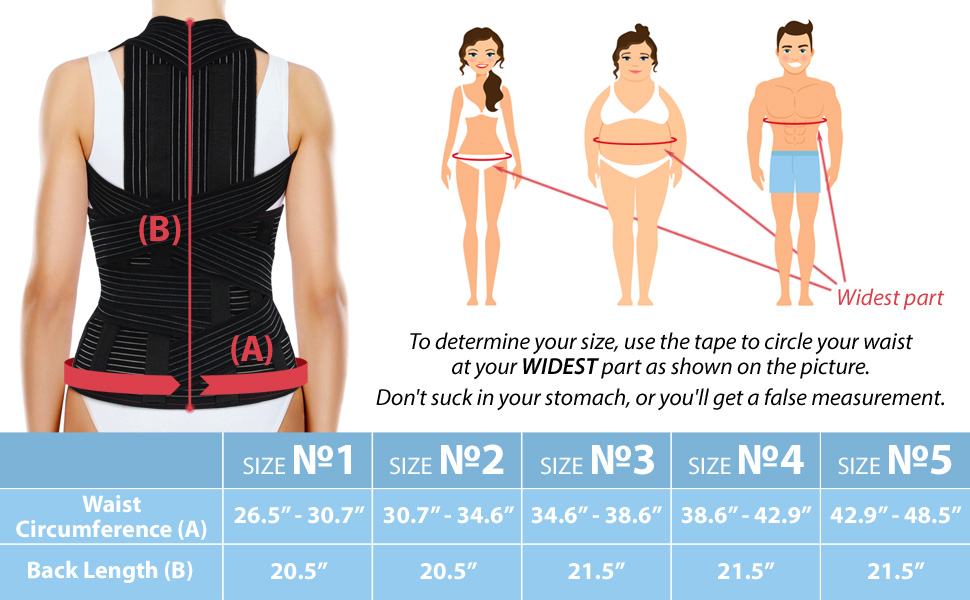 ortonyx posture corrector size chart