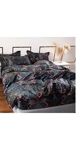 YOU SA Black Floral Quilt Cover with Pillow Shams Bohemian Bedding 100% Cotton Bedding Set