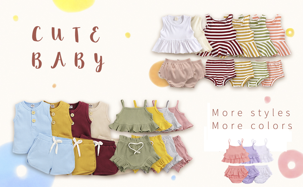 baby girl solid color short set clothes