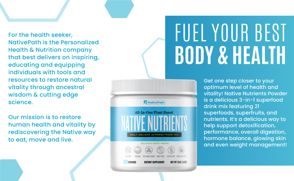 Native path nutrients green juice powder