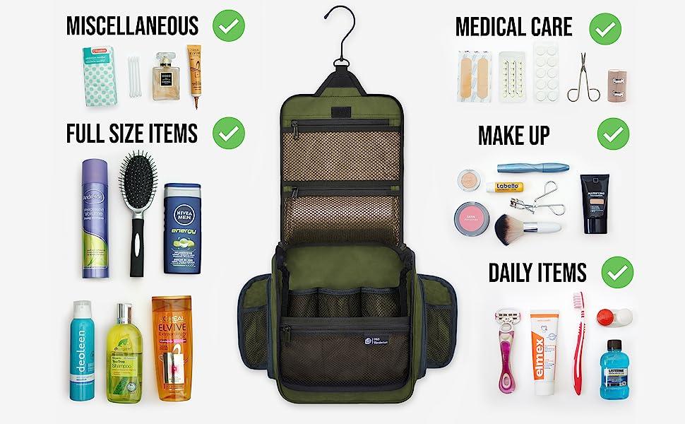 Full size toiletries, Makeup, cosmetics, shaving gear, oral hygiene, make up bag, toiletries bag