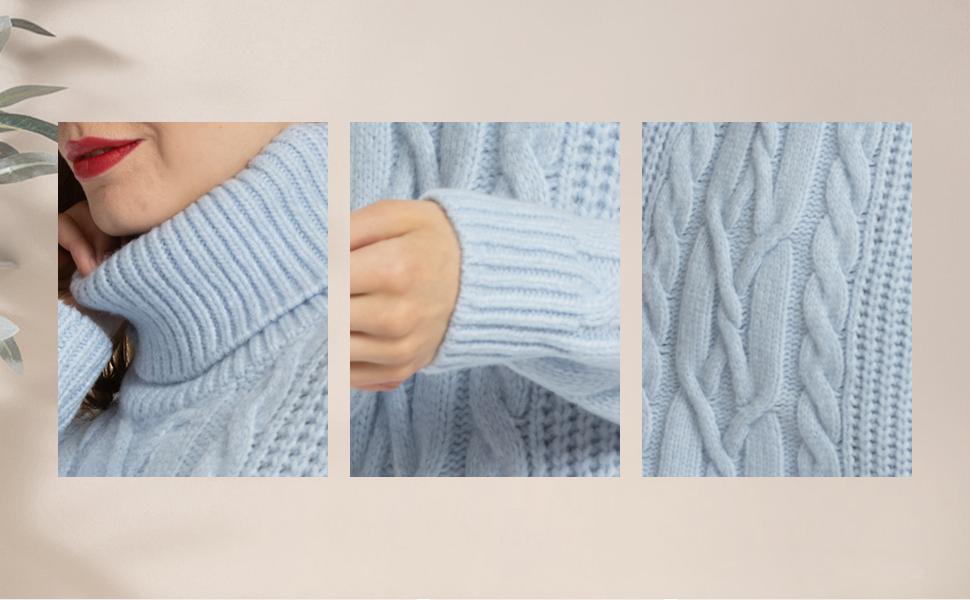 MessBebe Jersey Mujer Largo Vestido Jersey Invierno Cuello Alto Manga Larga Vestido Tejido de Punto Grueso Suéter Gran Tamaño Chaqueta Mini Falta Ropa ...