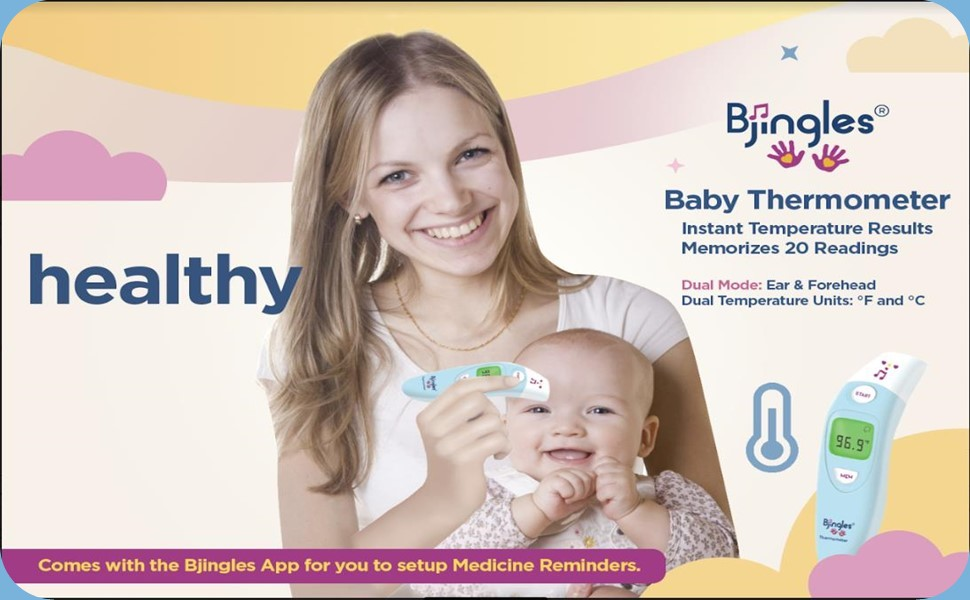 Baby Thermometer, Forehead & Ear, Fahrenheit & Celsius, Memorizes 20 Readings, Easy to Use, Portable