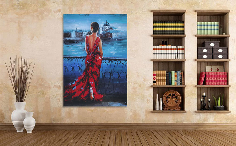 100% hand painted vintage romance lady oil painting, non-fading for more than 60 years.