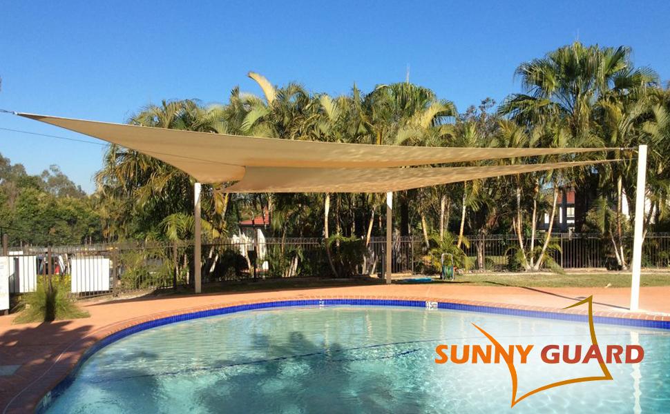 SUNNY GUARD Toldo Vela de Sombra Rectangular 3x3m HDPE Transpirable protección UV para Patio, Exteriores, Jardín, Color Arena