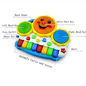 Toyshine Sunshine Drum Keyboard Musical Toys with Flashing Lights, Animal Sounds and Songs