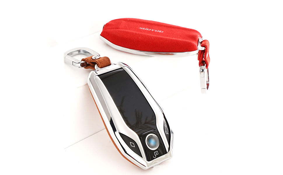 ontto Leather Key Fob Cover Keychain Compatible with BMW 5 7 Series Remote Display Blue