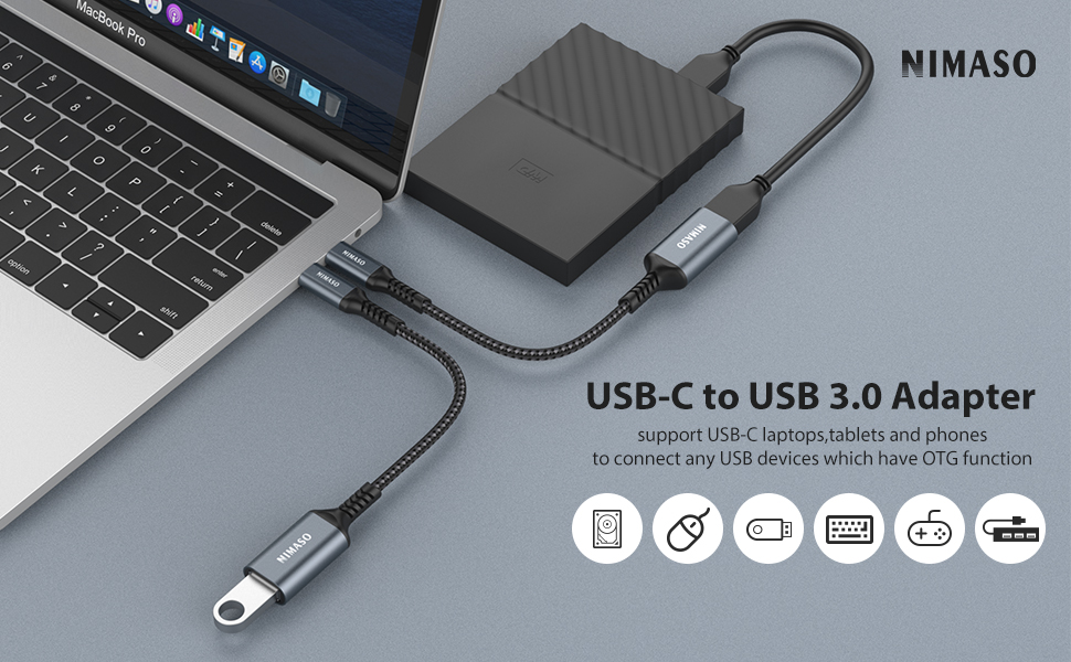 Pixel 3//4 XL NIMASO 2 Pack Type C to USB USB-C to USB 3.1 Adapter,Thunderbolt 3 to USB Female Adapter OTG Cable Compatible with MacBook 2020 2018 2017 USB C to USB Adapter Samsung Galaxy S20//S10