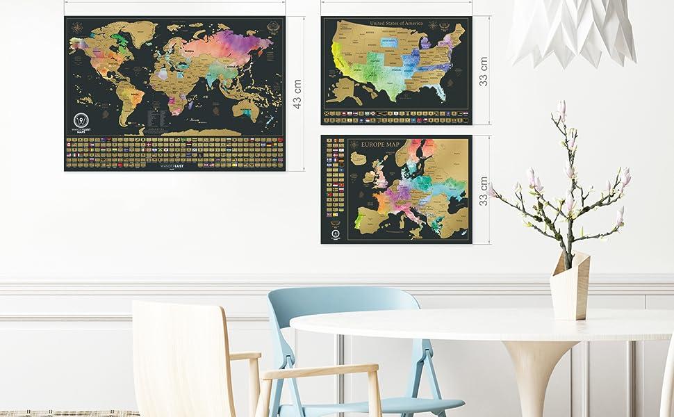 Paquete definitivo de mapa de rascar (acuarela mapa del mundo, de los EE. UU. y de Europa) | 3 mapas de rascar de gran calidad con un juego completo de accesorios y