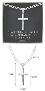 Sterling SIlver Crucifix Cross Necklace Faith Card