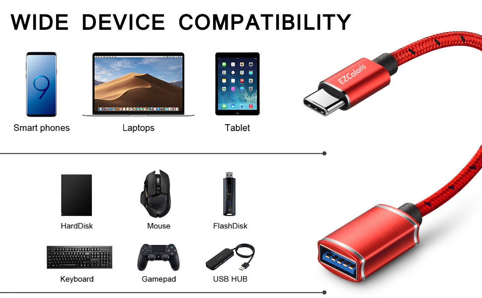 More Type C Device EZColoris USB C OTG Cable for Android 2 Pack Type C to USB A 3.0 OTG Adapter Cord Compatible with MacBook S10 S9 S8 S8 Dell XPS Samsung Galaxy Note 9 8