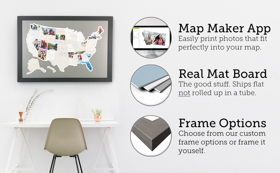 photo map, travel, push pin map, 50 states map, scratch off map