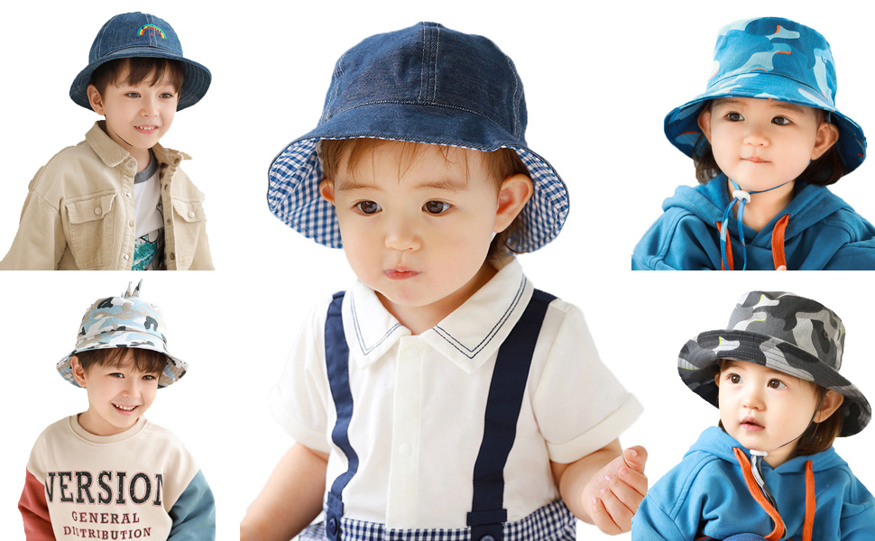 Boys Kids Childrens Checked Cotton Bucket Hat 2 Colours 3 Sizes