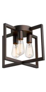 Emliviar 3 Light Ceiling Light Fixture Industrial Semi Flush Mount Light With Metal Cage Oil Rubbed Bronze Finish 2a2 Cl3 Orb Amazon Com