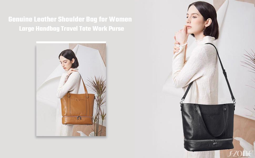 S-ZONE Women Soft Genuine Leather Shoulder Handbag Work Tote Crossbody Bag Large Travel Purse