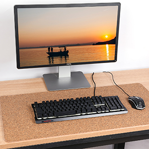 Aelfox Cork /& Leather Desk Pad Natural Office Desk Mat Double-Sided Use Smooth Extended Large Mouse Pad Desk Accessories 31.5 x 15.7 inches, Black//Cork
