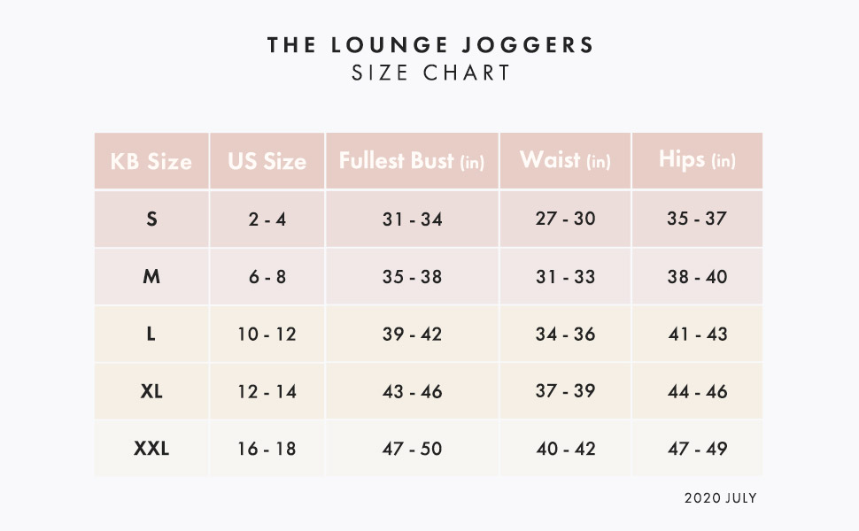 Maternity jogger lounge pant size chart