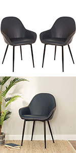 Blue Mid Century Dining Room Chairs with Arm