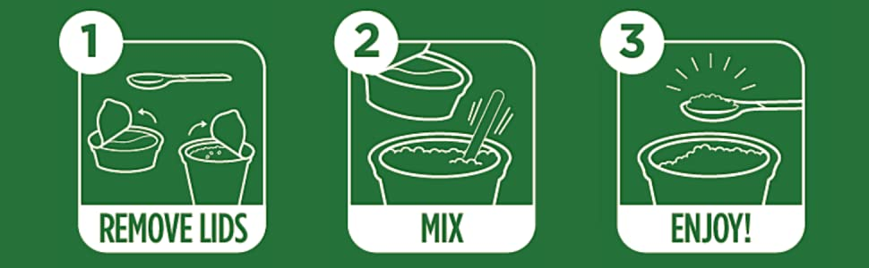 directions instructions easy steps 1 remove lids 2 mix stir 3 enjoy
