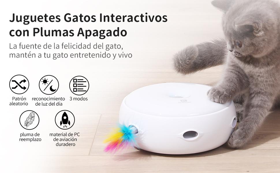 HAPPY HACHI Juguetes Gatos Interactivos con 2 Plumas Apagado ...