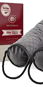 Gray Quilted Draft Stopper, Stylish Draft Stopper, Brown Door Wind Stopper, Heavy Draft Stopper