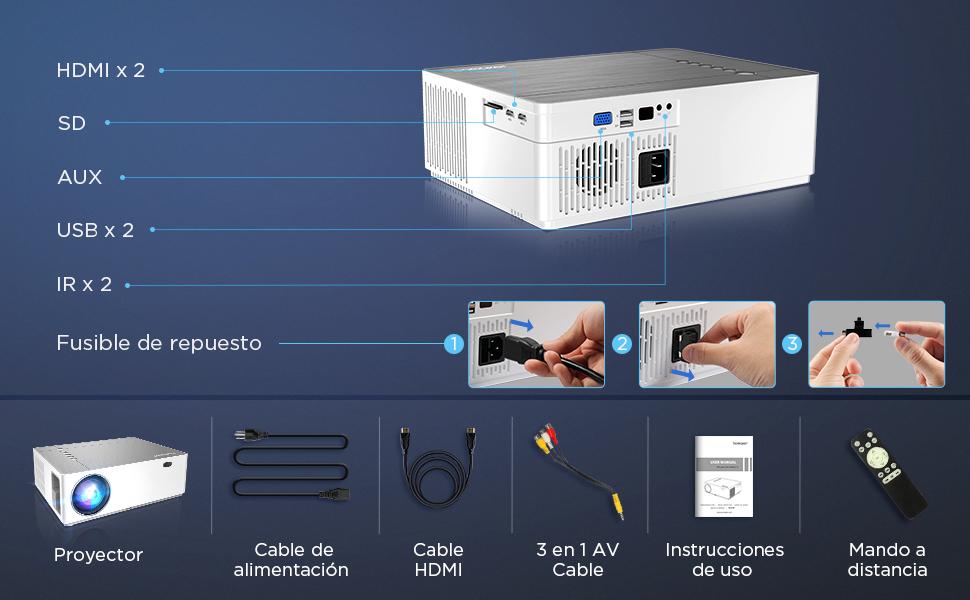 Proyector Full HD 1080p Nativo 6800 Lúmenes BOMAKER, 4D Corrección ...
