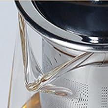 750 ml. Th/éi/ère en vrac avec infuseur amovible en acier inoxydable 304 750 ml Carr/é Th/éi/ère carr/ée en verre borosilicate haute r/ésistance /à la chaleur