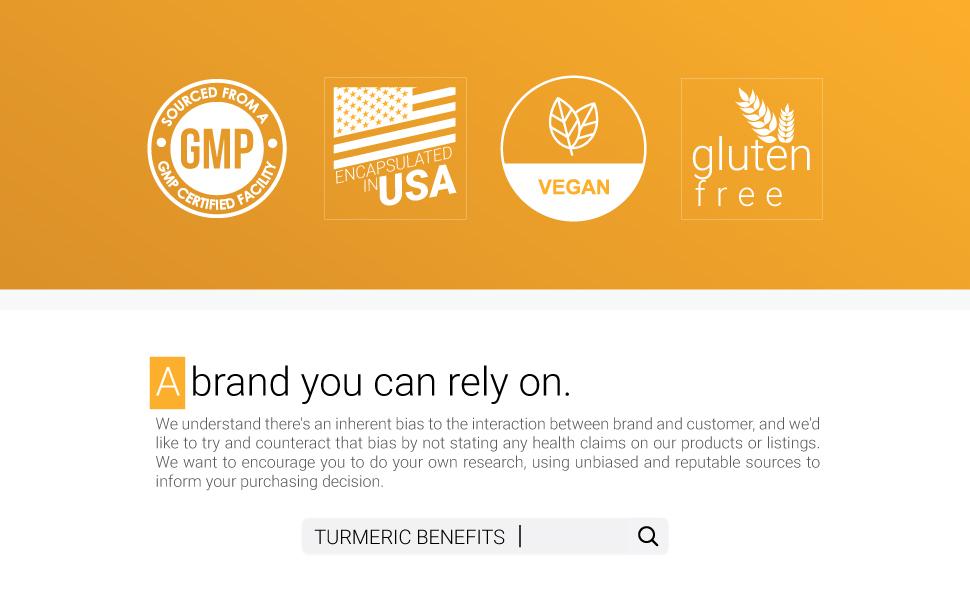 Turmeric Brand Gluten Free Vegan USA GMP