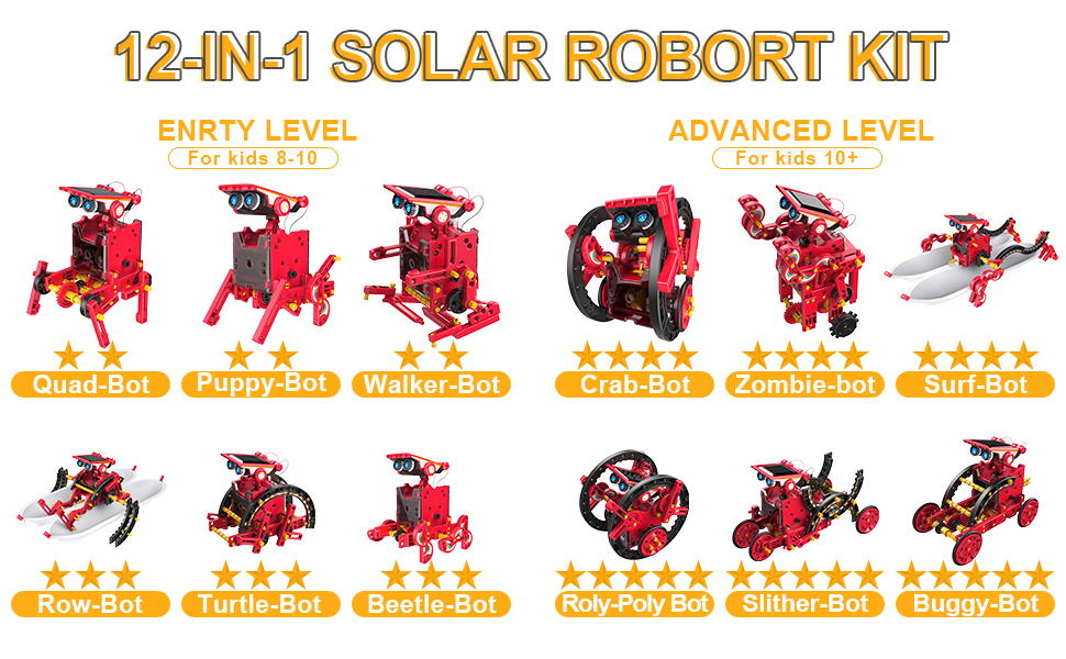 12-IN-1 Solar Robot Kit