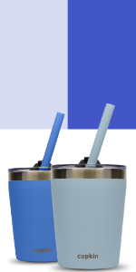 blue gray grey stainless steel kids cups lids straw