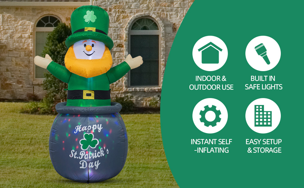 6 FT St. Patrick's Day Inflatable Leprechaun in Pot with Coins B08NT6BZ8Z