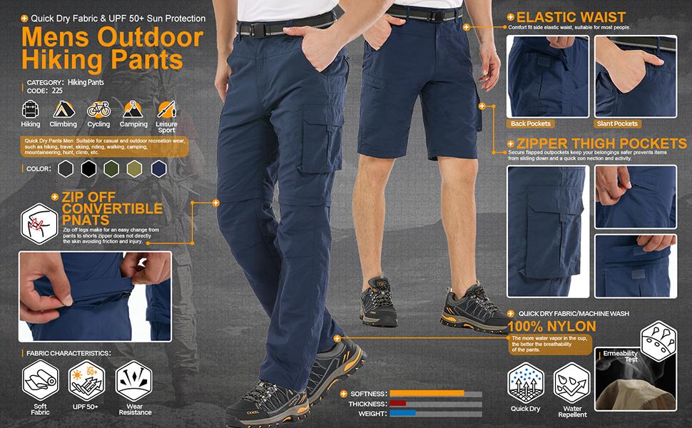 convertible pants men fishing hiking cargo pants quick dry pants men