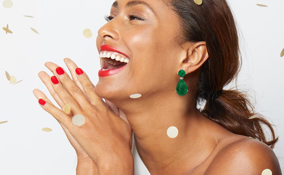 emerald earrings on-figure